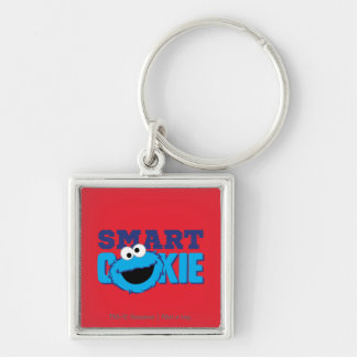 Smart Cookie Monster Silver-Colored Square Keychain