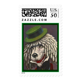 Smart Dapper Poodle In Boater Hat STAMPS DOG