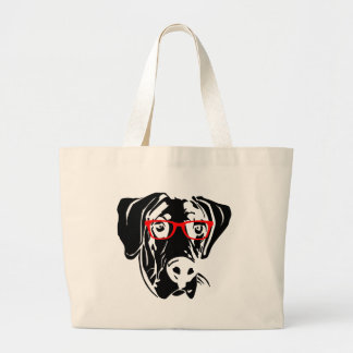 Smart Dog Great Dane with Glasses Canvas Bags