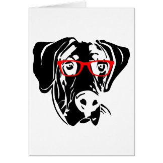 Smart Dog Great Dane with Glasses Greeting Card