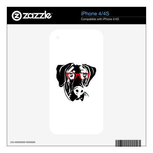 Smart Dog Great Dane with Glasses Skin For The iPhone 4