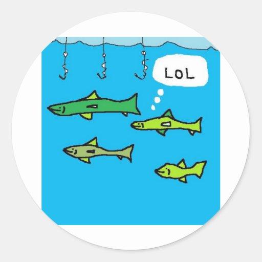 Smart fish classic round sticker zazzle for Are fish smart