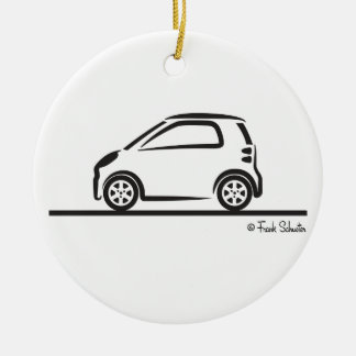 Smart Fortwo Side Double-Sided Ceramic Round Christmas Ornament