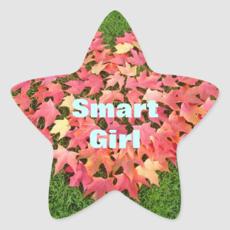 Smart Girl stickers Red Fall Leaves Green Lawn