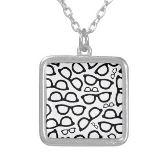 Smart Glasses Pattern Silver Plated Necklace