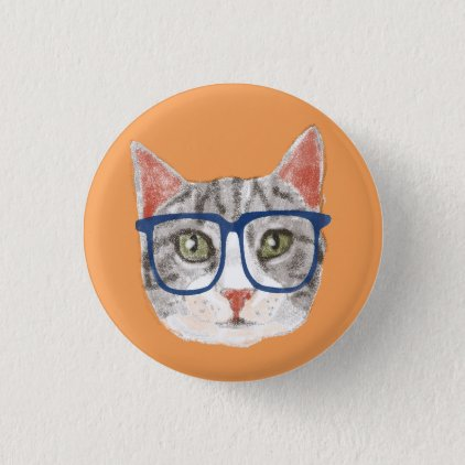 Smart Grey Hipster Tabby Cat Wearing Glasses Pinback Button