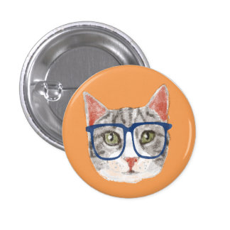 Smart Grey Tabby Cat Wearing Glasses Pinback Button
