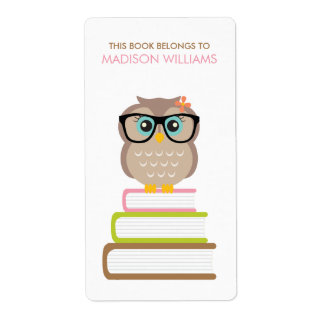 Smart Hipster Owl Bookplate