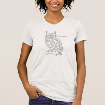 Smart Hipster Owl with Glasses Gray Customizable T-Shirt