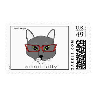 Smart Kitty Postage Stamp