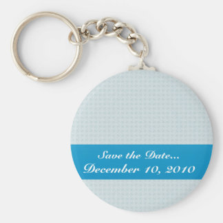 Smart light blue flower with wavy petals on white keychain