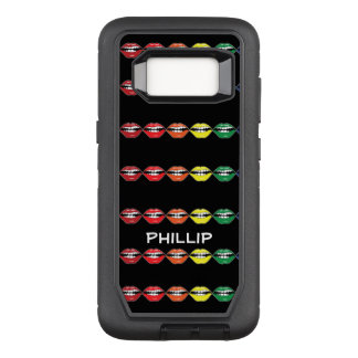 Smart Mouth Lipstick Rainbow with Name on Black OtterBox Defender Samsung Galaxy S8 Case