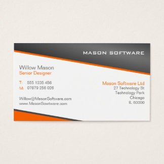 Smart Orange and Gray Professional Business Card