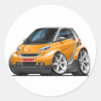 Smart Orange Car Classic Round Sticker