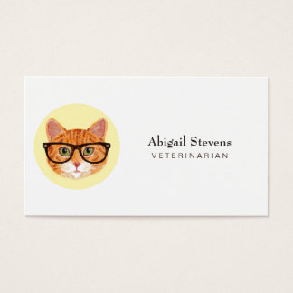 Smart Orange Cat Wearing Glasses Business Card