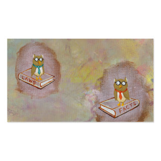 Smart owl art legal facts fun unique art painting business card template