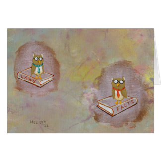 Smart owl art legal facts fun unique art painting greeting card