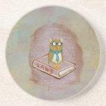 Smart owl art legal facts fun unique art painting beverage coasters