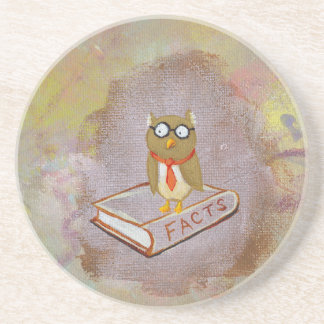 Smart owl art legal facts fun unique art painting drink coaster