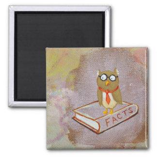 Smart owl art legal facts fun unique art painting refrigerator magnet