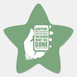 Smart Phone Caution Star Sticker