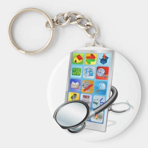 Smart phone or tablet pc health check concept key chains