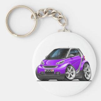 Smart Purple Car Basic Round Button Keychain