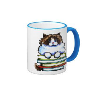 Smart Ragdoll Kitty Books Ringer Coffee Mug