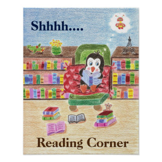 Smart reading penguin classroom poster