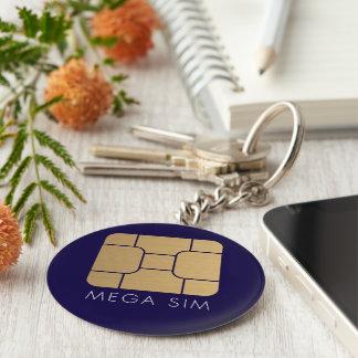Smart SIM Card mega format in faux gold Keychain