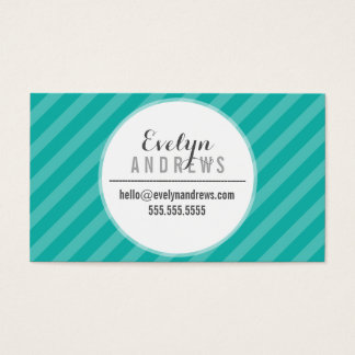 SMART SIMPLE SPOT stripe pattern trendy jade green Business Card