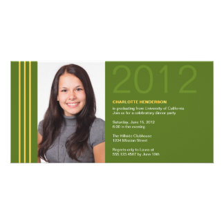 Smart stripes green graduation photo announcement photo card