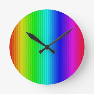 smart stripes,rainbow round clock