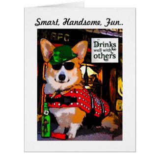 Smart Tricolor Corgi Father's Day Card