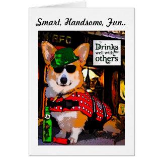 Smart Tricolor Corgi Father's Day Note Card