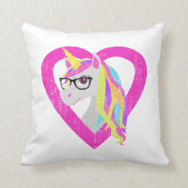 Smart Unicorn with Glasses Retro Nerdy Distressed Throw Pillow