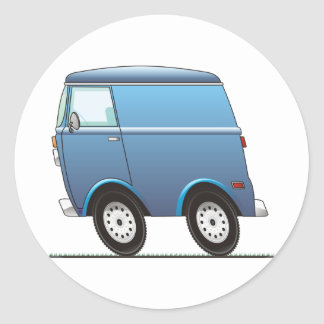 Smart Van Blue Classic Round Sticker