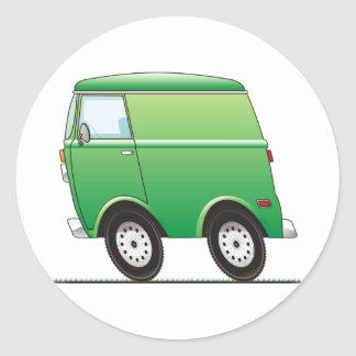 Smart Van Green Classic Round Sticker