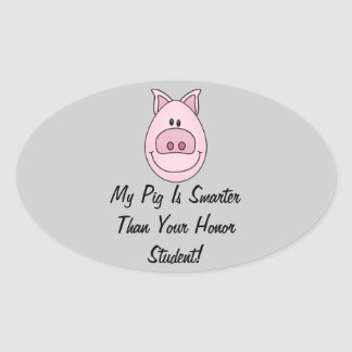 Smarter Pig Oval Stickers Sheet