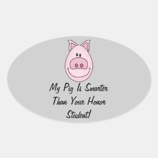 Smarter Pig Oval Stickers Sheet