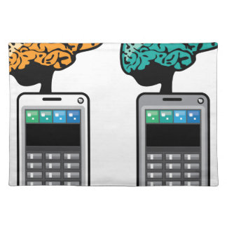 Smartest Phone vector with a Brain Cloth Placemat