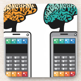 Smartest Phone vector with a Brain Drink Coaster