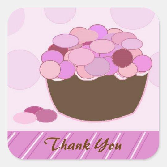 Smartie Cupcake Thank You Square Sticker