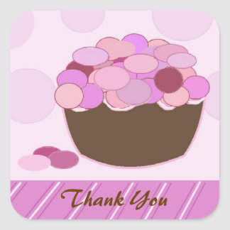 Smartie Cupcake Thank You Square Stickers