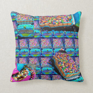 Smartie lorries straight both sides same throw pillow