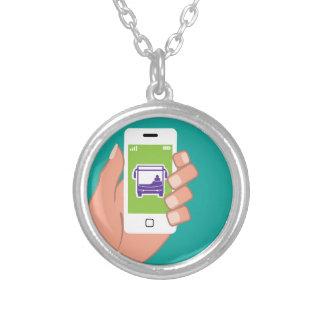 Smartphone application Bus service Online Round Pendant Necklace