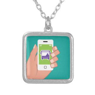 Smartphone application Bus service Online Square Pendant Necklace