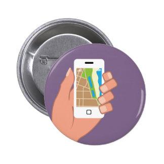 Smartphone con un mapa App Pin Redondo De 2 Pulgadas