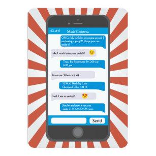 Text message invitations announcements zazzle smartphone emoji teen texting birthday invitation stopboris Gallery