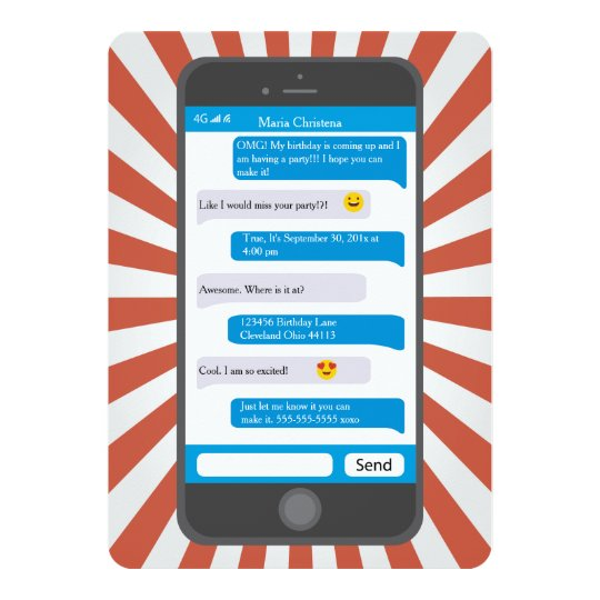 Cell Phone Text Message Invitations Announcements – Cell Phone Birthday Invitations